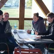 "Tanja Nikowitz from WWF Austria leading one group discussion about the ""Natura 2000 Drava Management Strategy""./Tanja Nikowitz iz WWF Austrije vodi jednu grupnu diskusiju na temu ""Natura 2000 strategija upravljanja rijekom Dravom""."